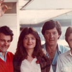 On the road in Zurich with 60 Minutes, 1983 -- Ben (brandishing gold ingot), Jana Wendt, sound recordist Ross McKay, and cameraman and Jana's husband-to-be Brendan Ward.