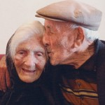 It's so rare there's no agreed name for it so I've called it a double diamond anniversary. In 2007 Silvia and Efisio Piras celebrated 75 years of marriage with a loving kiss and a slap-up party -- he was 100 and she was 98. Photo Mayu Kanamori.