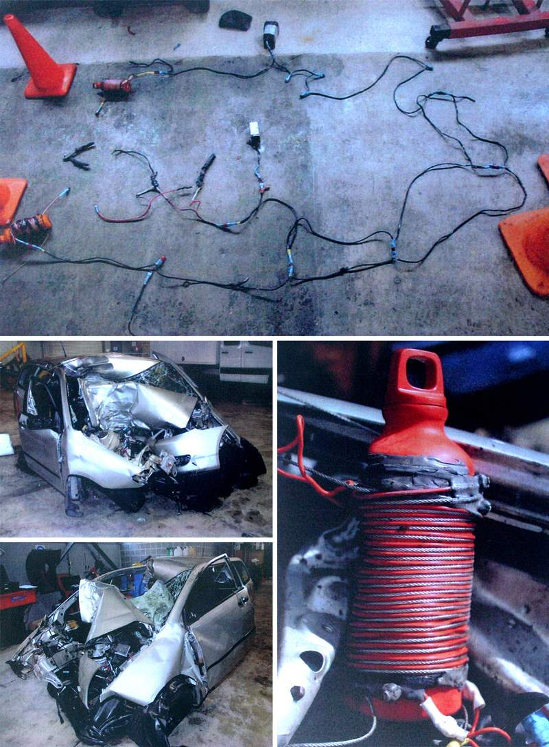 (top) The elaborate electrical circuit Milne built to detonate the bombs. (right) One of the petrol bombs Milne installed in the car. (left) The wreckage of the car after Darren Milne drove it into a tree at 85 kph. (Photos: Coroner's Court)