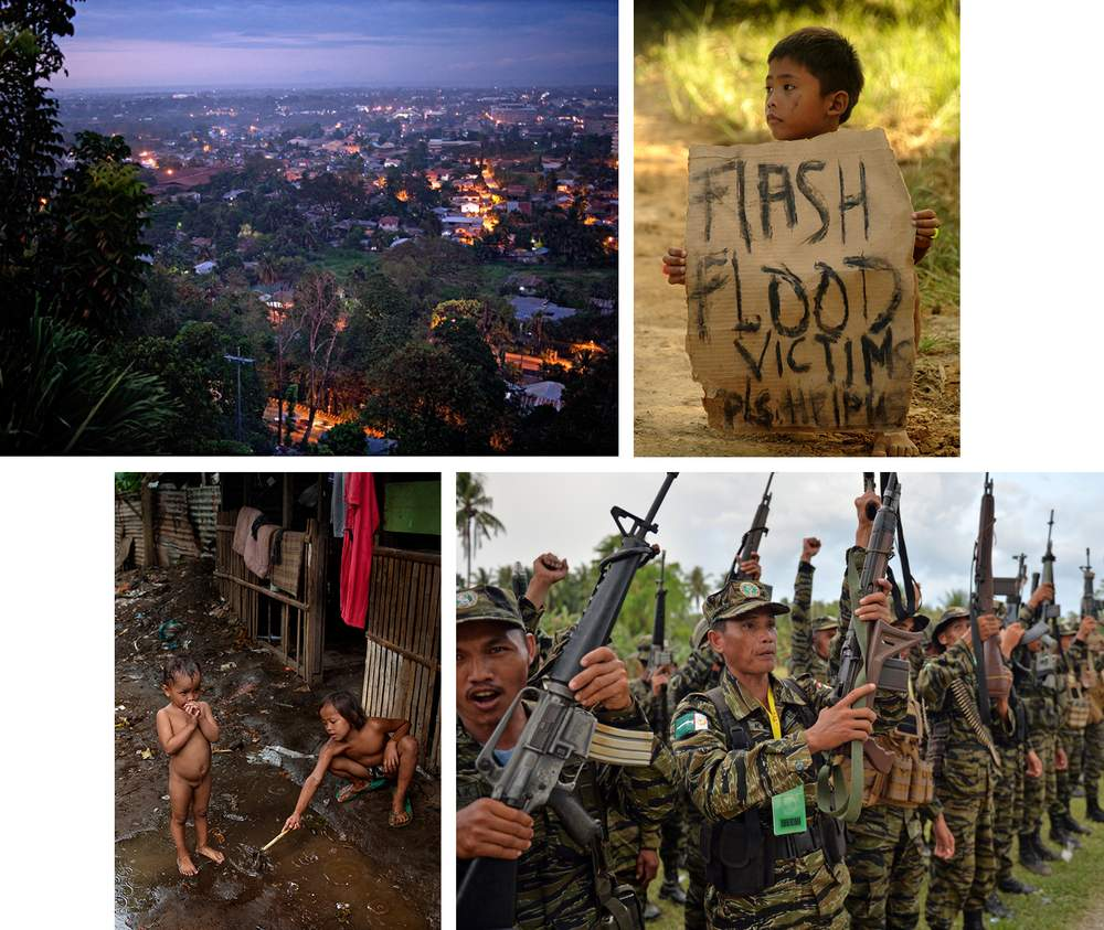 L-R from top, scenes from Mindanao: Cagayan de Oro, children in the city, rebels of the Moro Islamic Liberation Front.