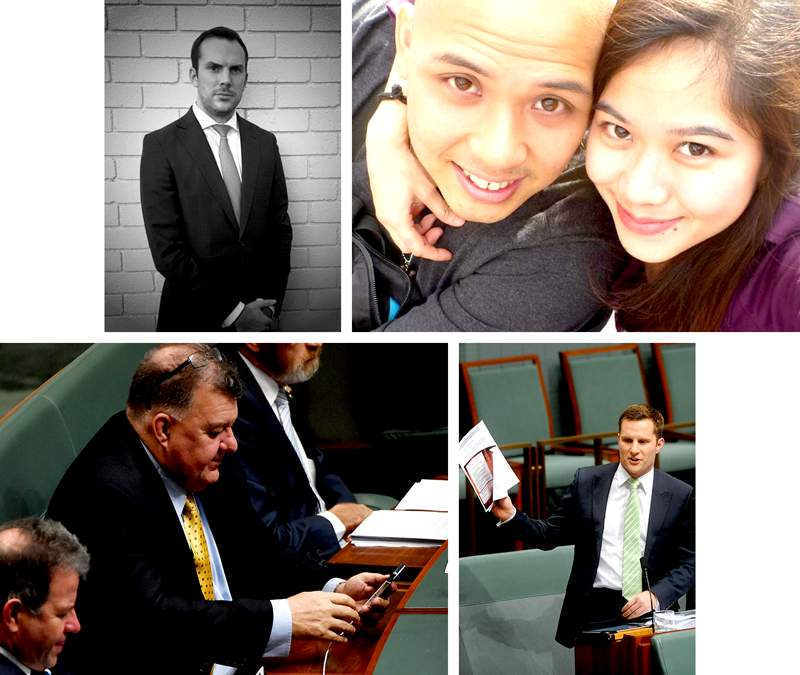 Cast of characters, L-R from top: Daniel Hannay, lawyer for Alex Escala Allan; Allan's son Duane Burgos and girlfriend Laarni Osorio; Chester Chiong's local member Craig Kelly; Assistant Minister for Immigration Alex Hawke.