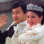 Princess Masako and Crown Prince Naruhito on their wedding cavalcade through the streets of Tokyo, June 9 1993. Photo AFP/Getty Images.