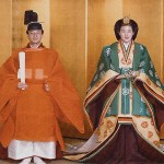 The official wedding photograph... clad in medieval regalia, the thoroughly modern Masako was taken to a Shinto shrine where vestal virgins rubbed her belly with bran in a fertility rite. Photo courtesy Imperial Household Agency.