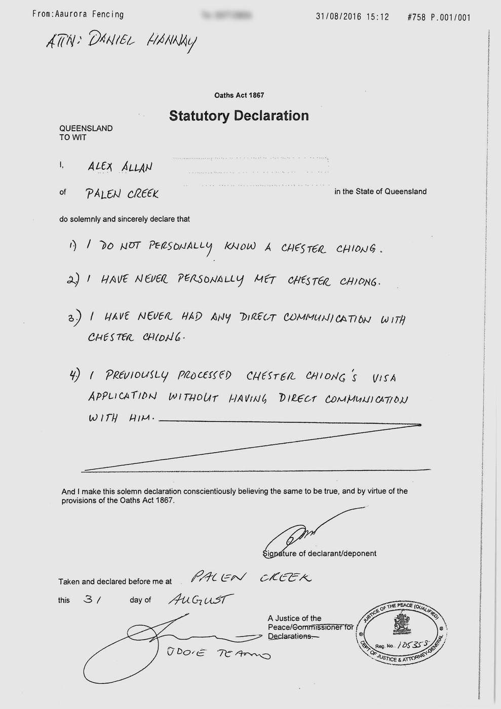 Read Alex Allan's statutory declaration.